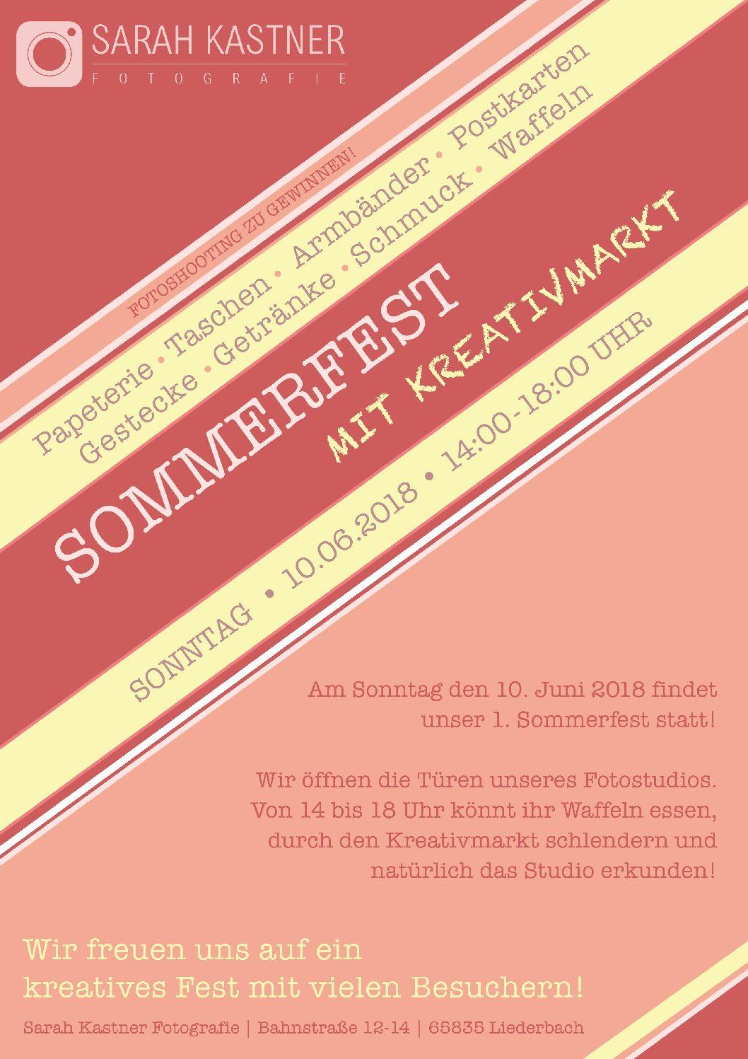 Sommerfest mit Kreativmarkt im Fotoatelier Sarah Kastner. 10. Juni in Liederbach (Taunus)